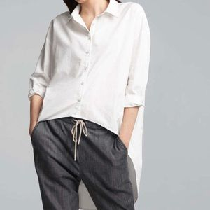 Eileen Fisher High-low Button Down Top White